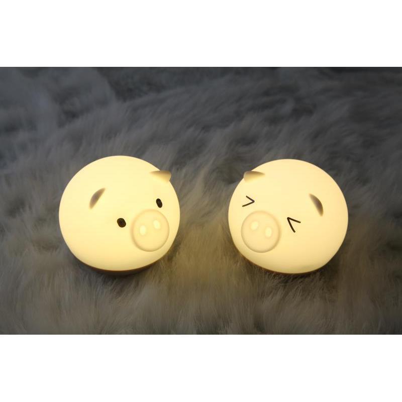 USB七彩豬拍拍硅膠led小夜燈