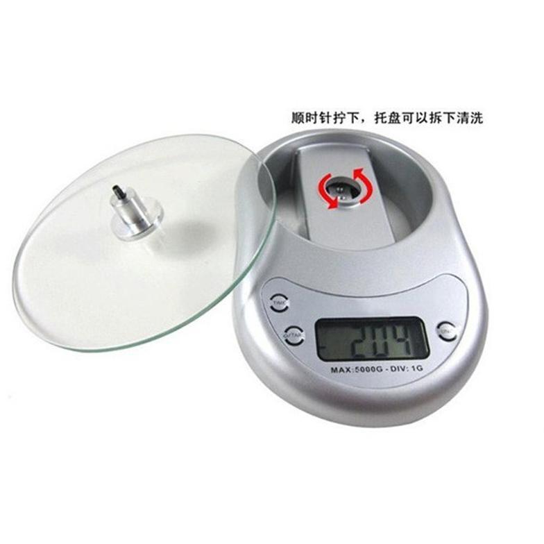 超精準絢麗鋼化玻璃電子時鐘5kg廚房秤