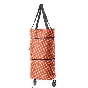 圓點時尚拖輪包/滾輪購物袋