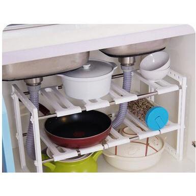 不銹鋼廚房瀝水架/雙層伸縮水槽收納架