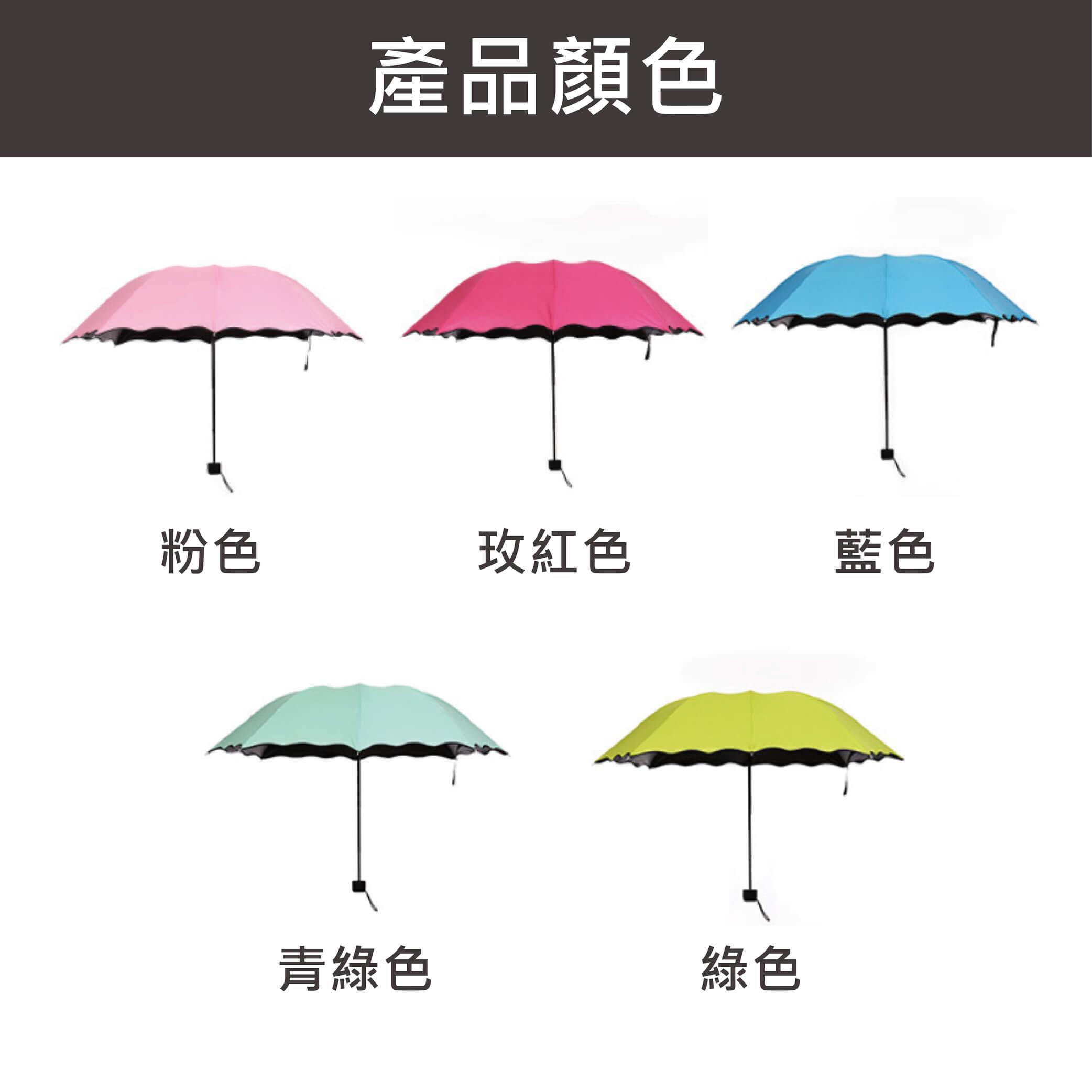 黑膠抗UV奇幻遇水生花折疊傘