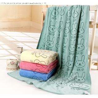 超細纖維兔子花紋柔膚超吸水速乾大浴巾