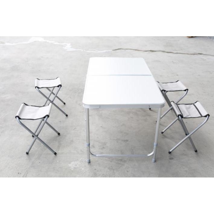 加強版折疊式鋁金屬工作檯/椅(一桌四椅)(有傘洞/無傘洞)