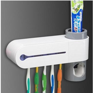USB充電紫外線消毒器牙刷架擠牙膏器
