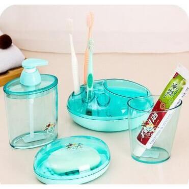橢圓透明牙刷杯牙刷架洗漱四件套