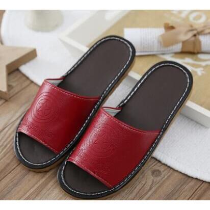 冬暖夏涼四季皆宜超舒適PU仿牛皮厚底防滑拖鞋