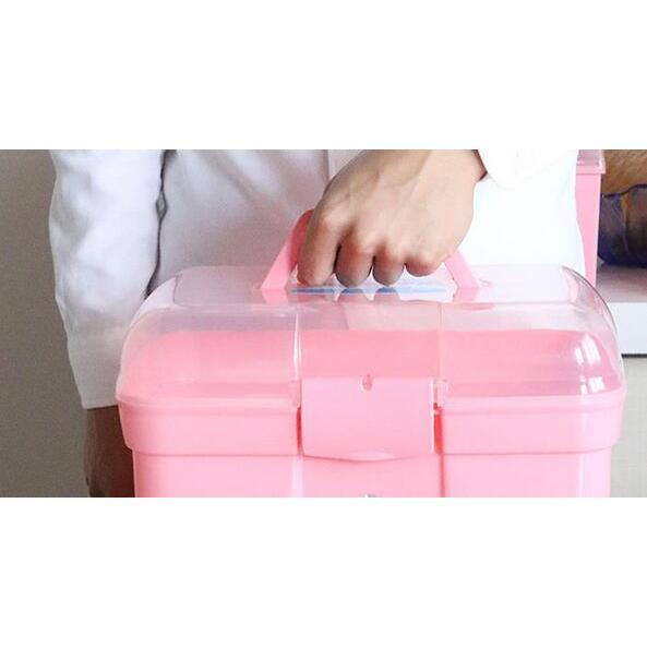 雙層便攜手提收納盒藥箱
