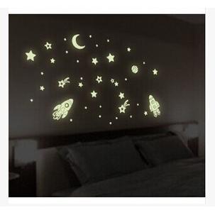 創意夜光太空飛船DIY壁貼