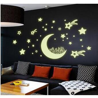 創意螢光夜光月亮房子DIY壁貼