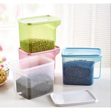 可疊加單手柄雜糧罐儲物收納盒