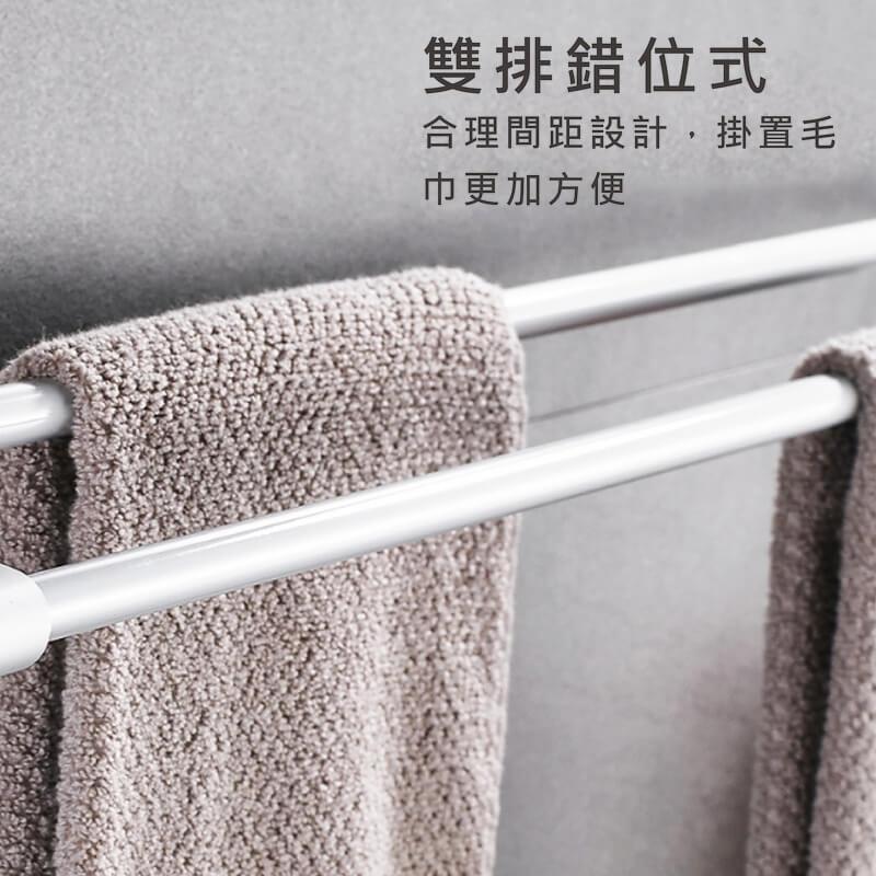 太空鋁免打孔加厚加粗雙桿毛巾架