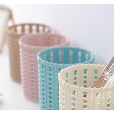 創意籐編塑料筆筒收納盒