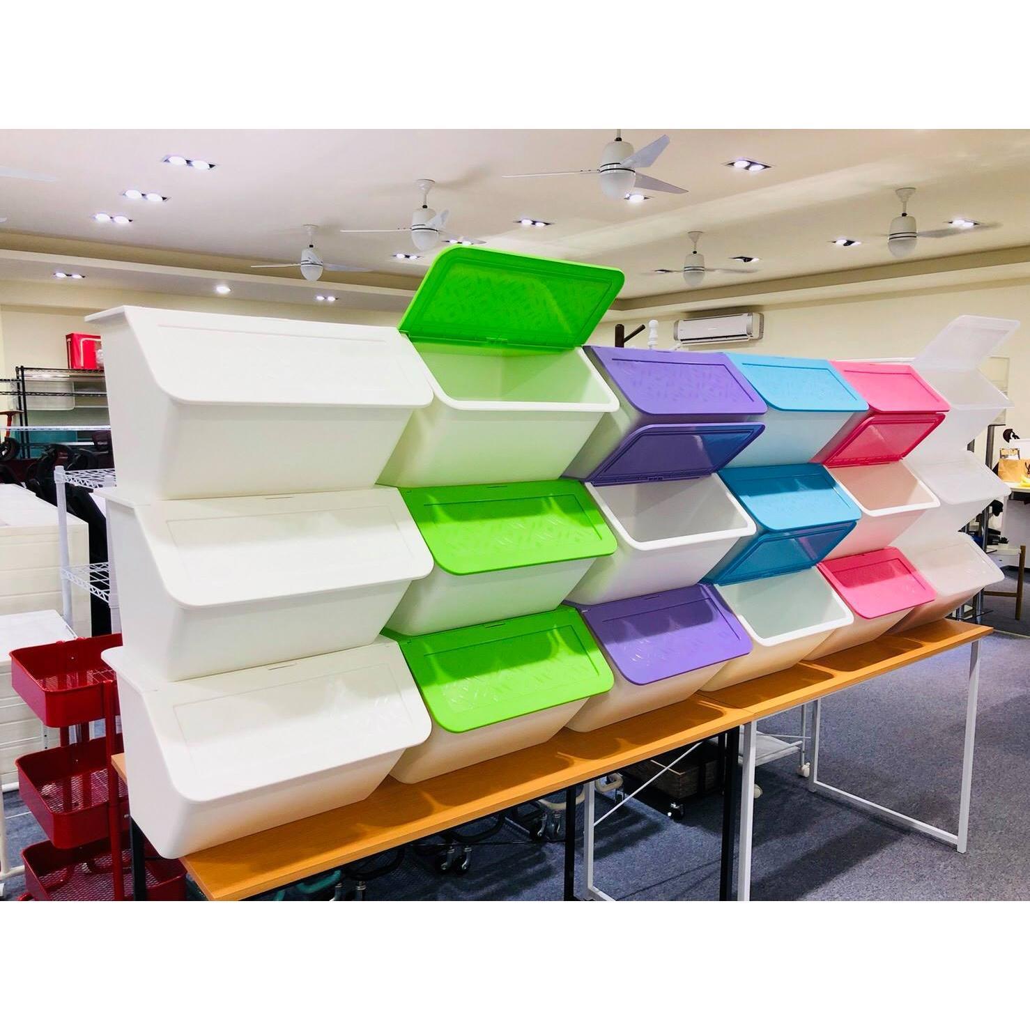 台灣製造可堆疊掀蓋收納箱33L(3入同色組)