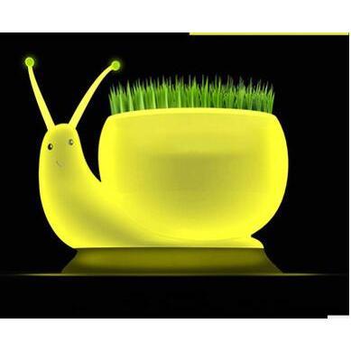療癒系USB充電LED蝸牛小夜燈植物生態檯燈