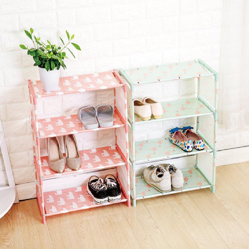 布藝一分鐘組合四層簡易不銹鋼鞋架