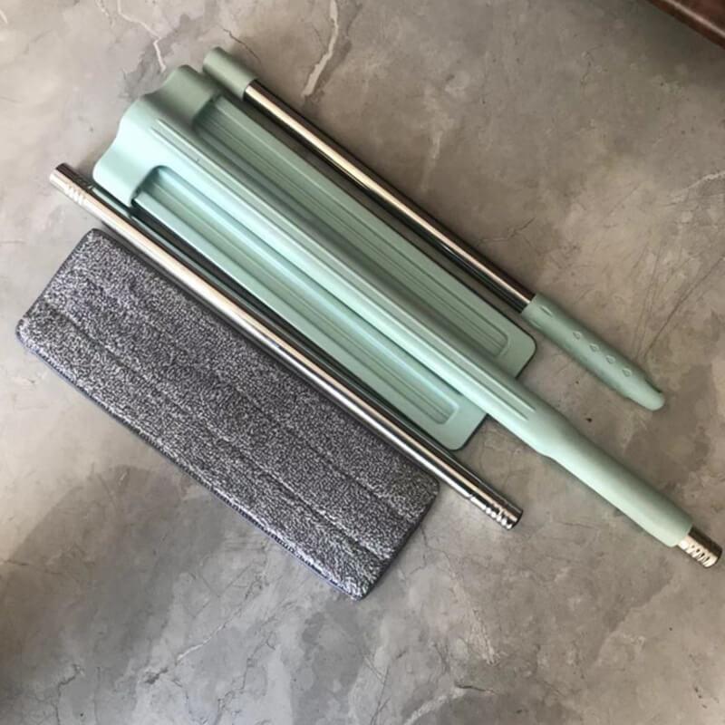 輕量級大號360度乾濕兩用免沾手平板拖組(馬卡龍綠)(三節式3512)