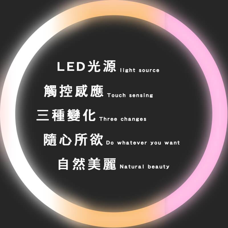 可調光調色USB充電式LED化妝鏡檯燈