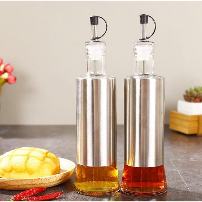 按壓式貼紙式玻璃調味瓶(300ml)