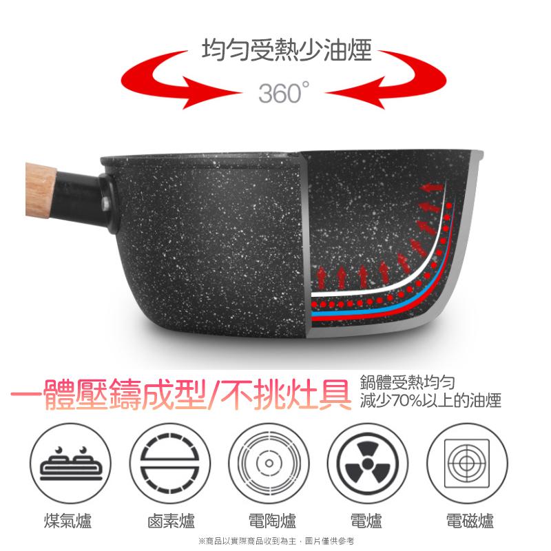 日式麥飯石不沾雪平鍋-18cm