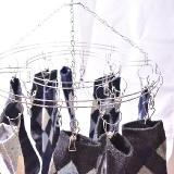 高檔線夾優質防風圓形不銹鋼晾衣架20夾