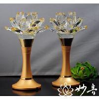 佛具 佛前供燈 佛教  純銅 奧地利 led 水晶蓮花燈 4.5寸