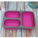 硅膠折疊三格保鮮密封餐盒