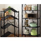 免安裝秒廚房用多功能折疊落地式可推置物架(鐵四層)