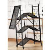 免組裝折疊落地式可推置物架(鐵五層)