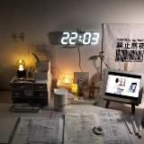 創意帶溫度3D電子掛鐘(白框白燈)