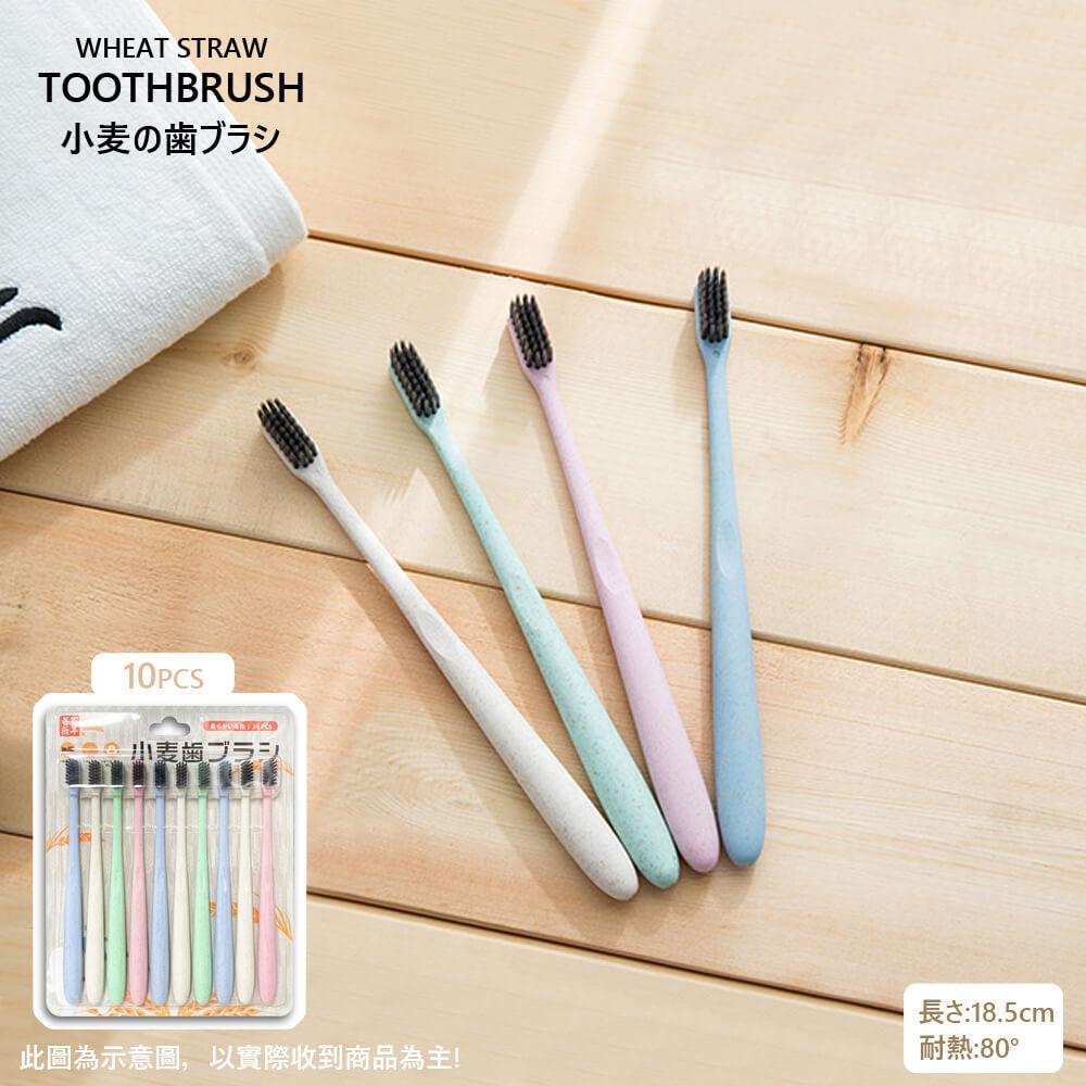 環保日本PPT百年薔薇歐風竹炭小麥軟毛牙刷(家庭旅行號10支/板)